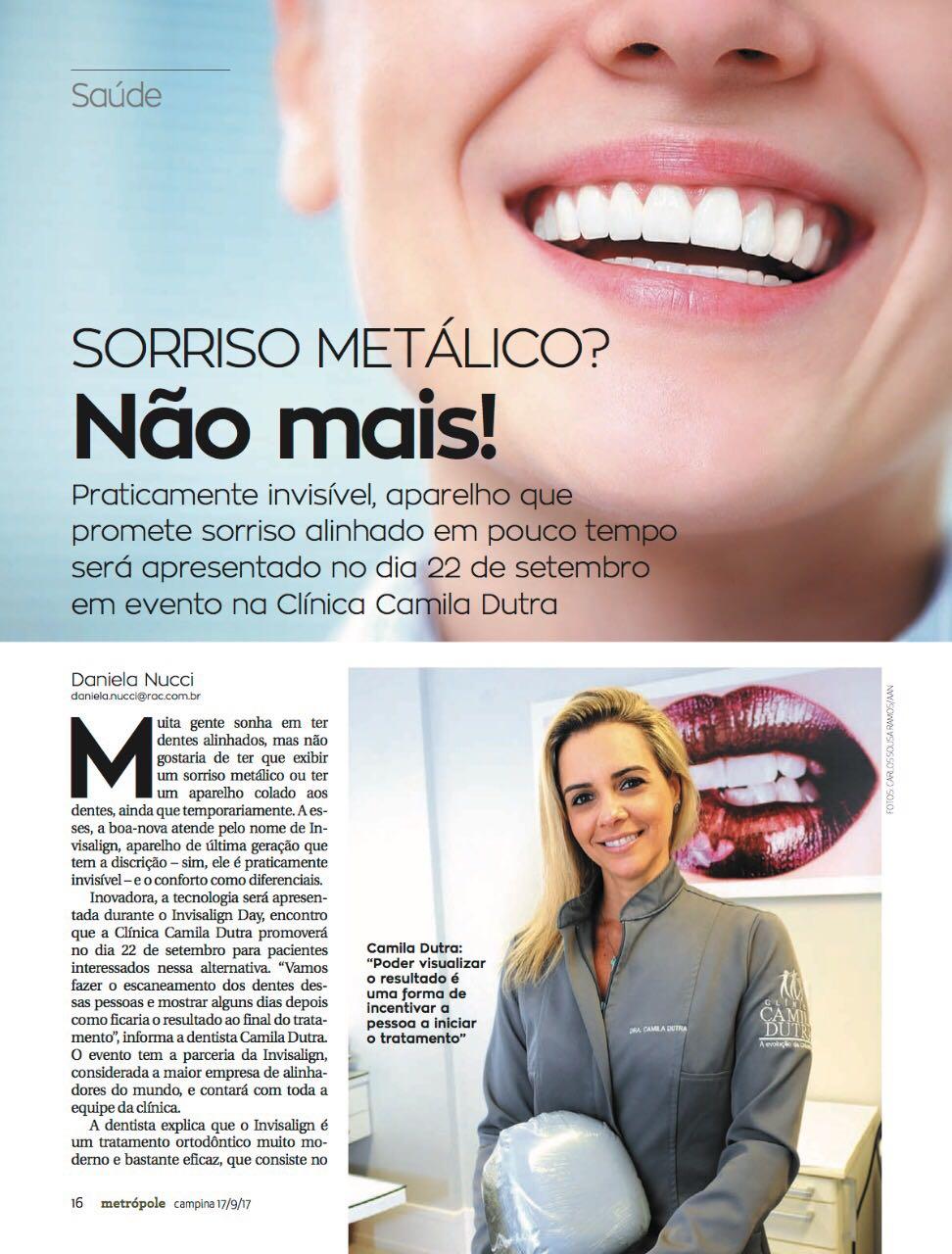 Reportagem da Revista Metrópole com a equipe da Clínica Camila Dutra